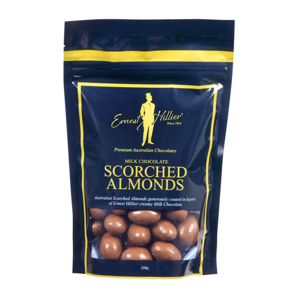 Ern. Hill. Bag Milk Choc Scorched Almonds 200g