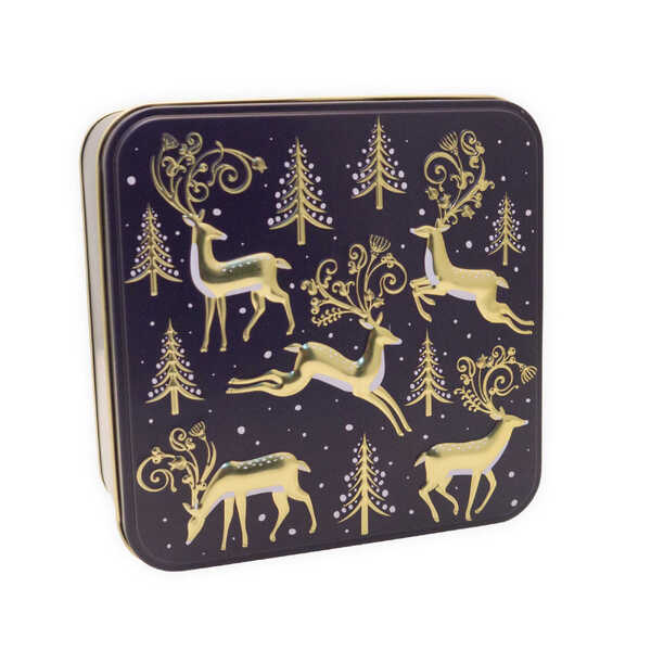 Grandma Wilds Embossed Golden Stags with Christmas Tree Tin with Biscuits (160g)