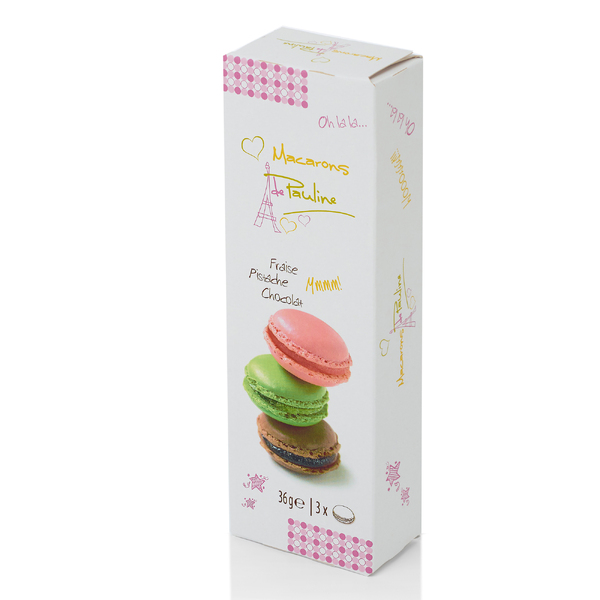 de Pauline 3 Macarons - Strawberry, Pistachio, Chocolate 36g (20)