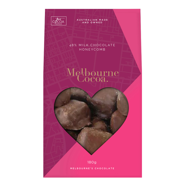 Melbourne Cocoa - Pink 48% Milk Chocolate Honeycomb 180g